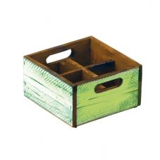Stackable Green Wooden Box - 4 compartments